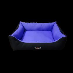 מיטה מפנקת לכלב בצבע סגול שחור מבד הדוחה מים
