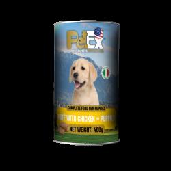 שימורי מזון מלא לגורי כלבים עם בשר עוף במרקם פטה 400 גרם