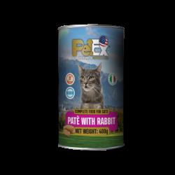שימורי מזון מלא להזנת חתולים עם בשר ארנבת במרקם פטה 400 גרם