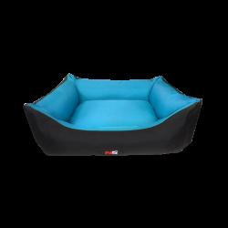 מיטה מפנקת לכלב בצבע תכלת ושחור מבד הדוחה מים-פטקס