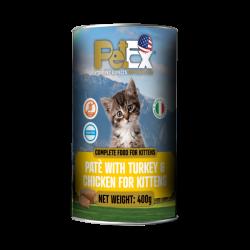 שימורי מזון מלא להזנת גורי חתולים עם בשר עוף והודו במרקם פטה 400 גרם