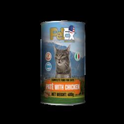 שימורי מזון מלא להזנת חתולים עם בשר עוף במרקם פטה 400 גרם
