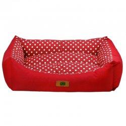 מיטה לכלב נגד מים אדומה כרית מנוקדת