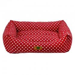 מיטה לכלב נגד מים אדום מנוקד