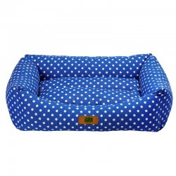 מיטה לכלב נגד מים כחול מנוקד