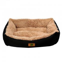 מיטה לכלב נגד מים שחורה עם פרווה חום