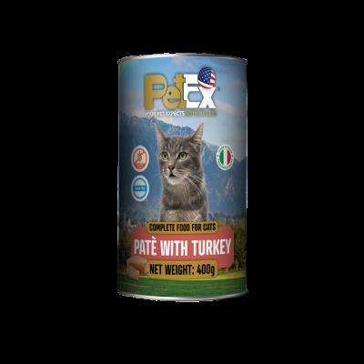 שימורי מזון מלא להזנת חתולים עם בשר הודו במרקם פטה 400 גרם